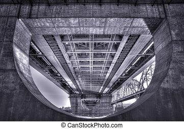 High Dynamic Range Imaging. Metro bridge. Kiev,Ukraine....