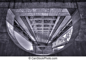 High Dynamic Range Imaging. Metro bridge. Kiev,Ukraine....