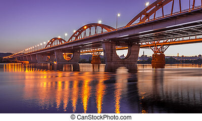 High Dynamic Range Imaging. Metro bridge. Kiev,Ukraine.