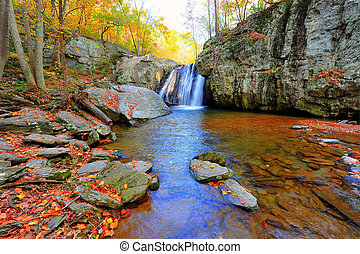 High Dynamic Range photo of Kilgore Falls in Maryland in Autumn