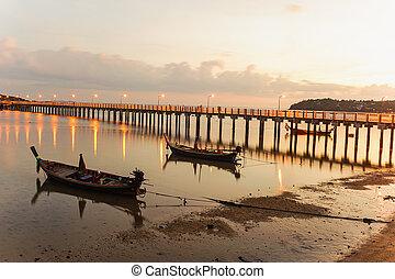 High dynamic range technique in twilight, Rawai beach,...