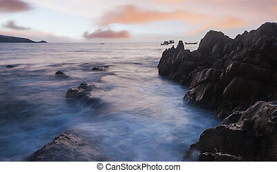 High dynamic range technique of seascape in twilight, Phuket...