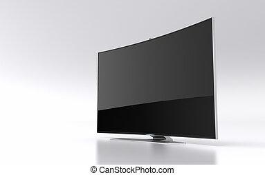 high-end, courbé, mené, intelligent, tv