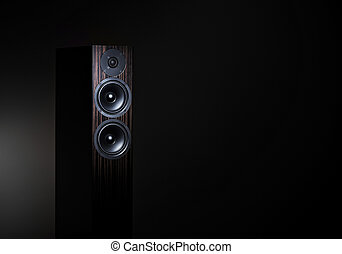 High End loudspeaker in spotlight - Hi-Fi audio speaker on...
