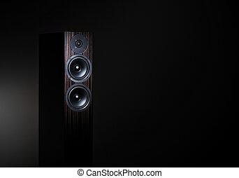 High End loudspeaker in spotlight - Hi-Fi audio speaker on...