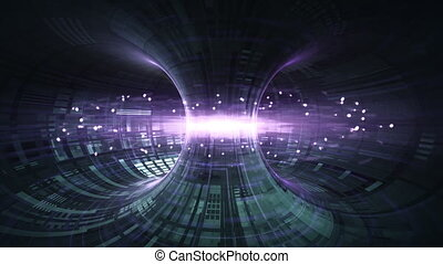 High Energy Particles Flow Through A Tokamak Or Doughnut-Shaped Device. Antigravity, Magnetic Field, Nuclear Fusion, Gravitational Waves And Spacetime Concept