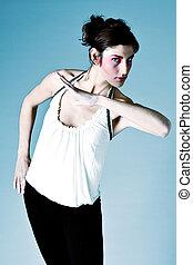 High fashion extreme make-up - Studio portrait of a tall...