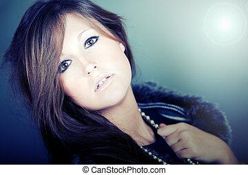 High Fashion Female with Long Dark Hair - Shot of a High...