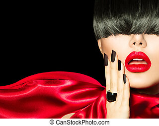 High Fashion Girl with Trendy Hairstyle, Makeup and Manicure