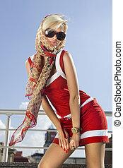 High fashion happy woman - High fashion urban portrait of...