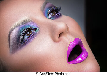 High fashion look, closeup portrait, beautiful sexy stylish woman model with art creative makeup, pink lips, perfect clean skin.