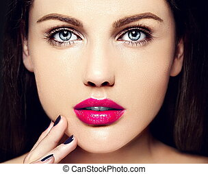 High fashion look. glamor closeup beauty portrait of beautiful Caucasian young woman model with nude makeup with perfect clean skin with colorful pink lips