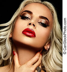 High fashion look. glamor closeup portrait of beautiful sexy stylish blond Caucasian young woman model with bright makeup, with red lips, with perfect clean skin