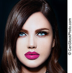 High fashion look. glamor closeup portrait of beautiful sexy stylish Caucasian young woman model with bright makeup, with pink natural lips, with perfect clean skin