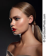 High fashion look. ?loseup beauty portrait of beautiful Caucasian young woman  with red lips .
