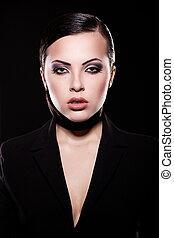 High fashion look. portrait of beautiful brunette girl model...