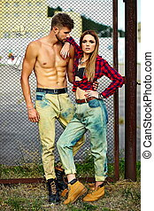 High fashion look.beautiful couple sexy stylish blond young...