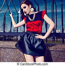 High fashion look.glamor beautiful sexy stylish brunette...
