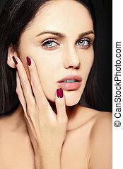 High fashion look.glamor closeup beauty portrait of...