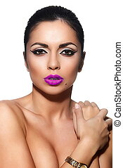 High fashion look.glamor closeup portrait of beautiful sexy Caucasian young woman model with pink lips,bright makeup, with black eyes with perfect clean skin isolated white