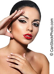 High fashion look.glamor closeup portrait of beautiful sexy Caucasian young woman model with red lips,bright makeup, with black eyes with perfect clean skin isolated white