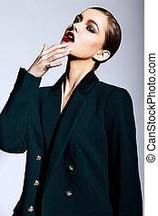 High fashion look.glamor closeup portrait of beautiful sexy...