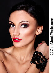 High fashion look.glamor closeup portrait of beautiful sexy Caucasian young woman model with red lips,bright makeup, with perfect clean skin isolated on black