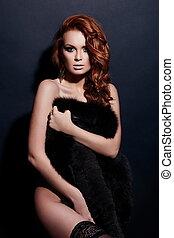 High fashion look.glamor portrait of beautiful sexy redhead...