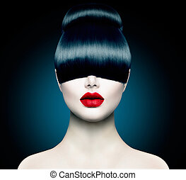 High Fashion Model Girl Portrait with Trendy Fringe