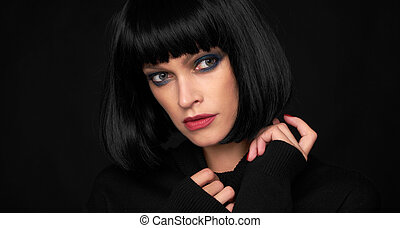 Fashion model girl with kare hairstyle