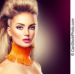 High fashion model girl with mohawk hairstyle and vivid make up