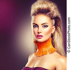 High fashion model girl with mohawk hairstyle and vivid make...