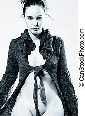 High fashion model posing - Studio portrait of a high...