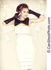 high fashion - Art fashion photo of a gorgeous woman in...