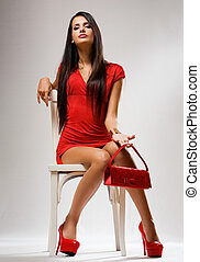 High fashion. - Very fashionable young brunette beauty...