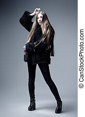 high fashion style - Fashion shot. Full length portrait of a...