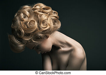 high fashion woman with abstract hair style - Beautiful high...