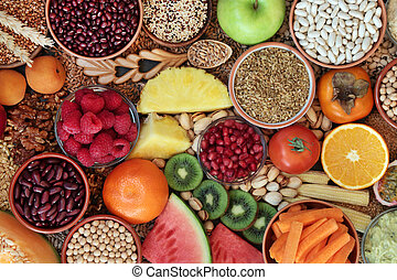 High fibre health food concept with super foods high in antioxidants, omega 3, vitamins & protein with low GI levels for diabetics. Helps to lower blood pressure & cholesterol. Flat lay. Top view.