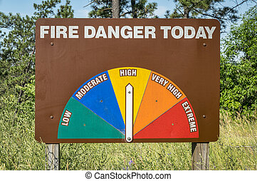 high fire danger roadside warning sign in Nebraska
