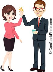 High Five Businessman Businesswoman