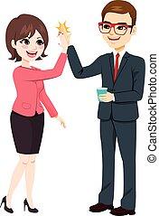 High Five Businessman Businesswoman