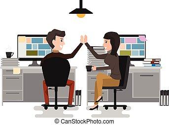 high-five!, elasticidad, silla, tazas, dar, oficina., ...