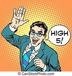 High five joyful businessman pop art retro style. Greeting...