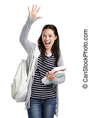 high-five! - cheerful college student showing high-five hand...