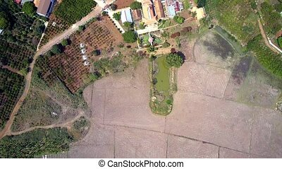 high flight over plowed fields plantations and houses -...