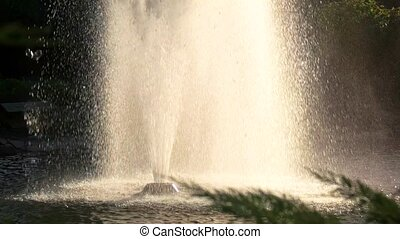 High fountain in motion.