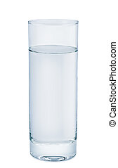 High glass with water on white background.