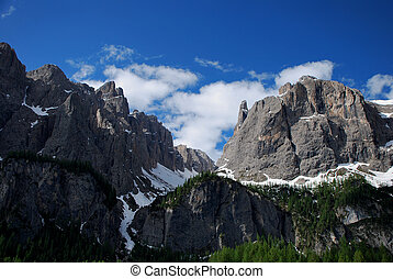 high gray rocky mountains with sky