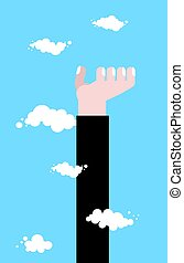 High hand. Raise up to heaven. Business hand in clouds. Pprotege concept template