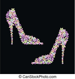 high heel flower shoes